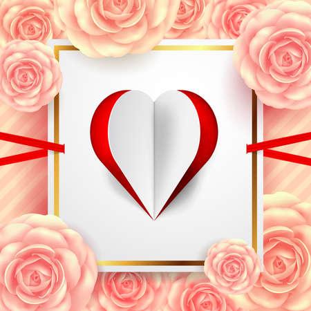 グリーティングカード、バナー、チラシ、ポスター、パンフレット用のカットペーパーハートと美しい花を持つバレンタインデーカード.Vectorイラス