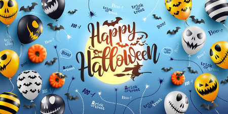 Happy Halloween Lettering and Blue Background with Halloween Ghost Balloons.Scary air balloons.Website spooky,Background or banner Halloween template.Vector illustration EPS10