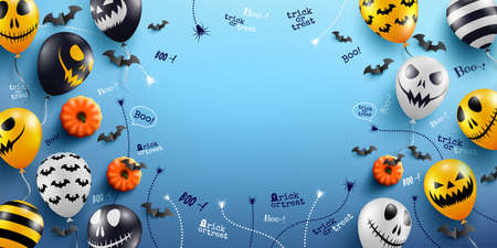 Halloween Blue Background with Halloween Ghost Balloons.Scary air balloons.Website spooky,Background or banner Halloween template.Vector illustration EPS10