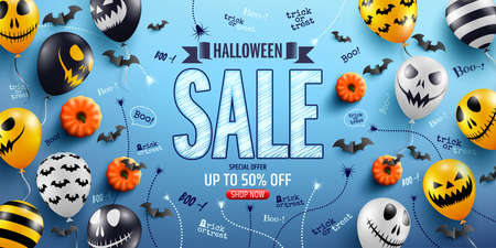 Halloween Sale Promotion Poster with Halloween Ghost Balloons.Scary air balloons.Website spooky,Background or banner Halloween template.Vector illustration EPS10