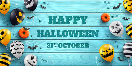 Happy Halloween Banner with Halloween Ghost Balloons on blue wood background.Scary air balloons.Website spooky or banner  template.Vector illustration EPS10