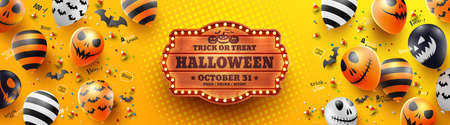 Colorful Happy Halloween trick or treat on yellow Background with Halloween Ghost Balloons.Scary air balloons.Website spooky,Background or banner Halloween template.Vector illustration EPS10spooky,Background or banner Halloween template.Vector illustration EPS10