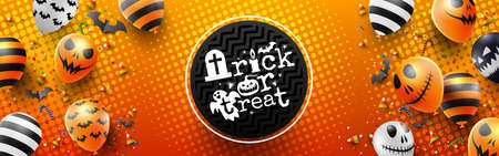 Colorful Happy Halloween trick or treat on Orange Background with Halloween Ghost Balloons.Scary air balloons.Website spooky,Background or banner Halloween template.Vector illustration EPS10 Illustration
