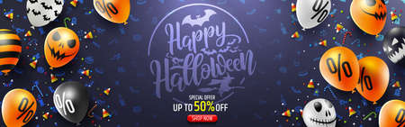 Halloween Sale Promotion Poster with Halloween candy and Halloween Ghost Balloons.Scary air balloons.Website spooky or banner template.Vector illustration EPS10 Stock Illustratie
