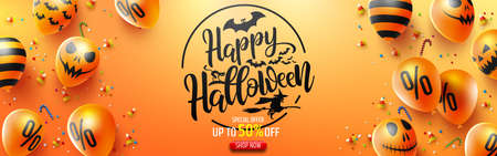 Halloween Sale Promotion Poster with Halloween candy and Halloween Ghost Balloons on Orange background.Scary air balloons.Website spooky or banner  template.Vector illustration EPS10