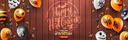 Halloween Sale Promotion Poster with candy and Halloween Ghost Balloons on vintage wooden board.Scary air balloons on wood background.Website spooky or banner  template.Vector illustration EPS10