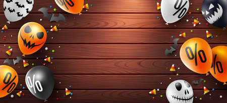 Halloween Sale background with Halloween Ghost Balloons on wood background.Scary air balloons.Website spooky or banner,Sale Promotion or Poster template.Vector illustration EPS10 Illustration