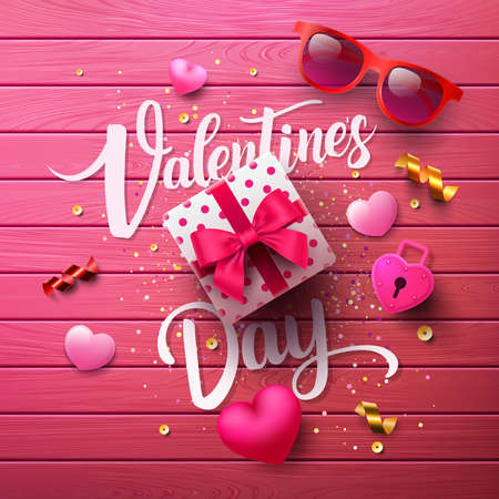 Valentines Day Poster with sweet gift,sweet heart and lovely items on pink wood background.Promotion and shopping template or background for Love and Valentines day concept.Vector EPS10