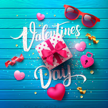 Valentines Day Poster with sweet gift,sweet heart and lovely items on blue wood background.Promotion and shopping template or background for Love and Valentines day concept.Vector EPS10