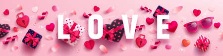 Valentines Day and Love banner with sweet gift,sweet heart and lovely items on pink background.Promotion and shopping template or background for Love and Valentines day concept.Vector EPS10 Stock Illustratie