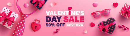 Valentines Day Sale Poster or banner with sweet gift,sweet heart and lovely items on pink background.Promotion and shopping template or background for Love and Valentines day concept.Vector EPS10