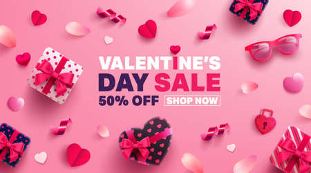 Valentine's Day Sale Poster or banner with sweet gift,sweet heart and lovely items on pink background.Promotion and shopping template or background for Love and Valentine's day concept.Vector EPS10 Zdjęcie Seryjne - 115479340