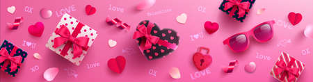 Valentines Day Poster or banner with sweet gift,sweet heart and lovely items on pink background.Promotion and shopping template or background for Love and Valentines day concept.Vector EPS10