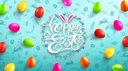 Happy Easter Day Poster with colorful Painted Easter Eggs and hand drawn elements. Handwriting inscription Happy Easter Day. Promotion and shopping template for Easter Day. Vector illustration Stock Illustratie