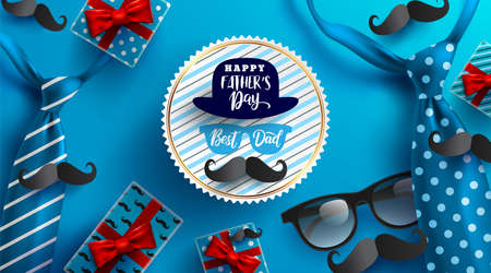 Flat lay style of Happy Fathers Day inscription with necktie, glasses and gift box for dad on blue background. Greetings and presents for Fathers Day. Vector illustration