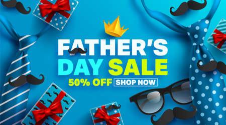 Plakat promocyjny sprzedaży na dzień ojca lub baner z koncepcją papieru do pakowania otwartego prezentu. Szablon promocji i zakupów na dzień ojca. Ilustracja wektorowa Eps10