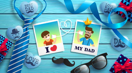 Happy Fathers Day flat lay style with polaroid frame of dad photo and boy, necktie, glasses and gift box on wood table. Promotion and shopping template for Fathers Day. Vector illustration