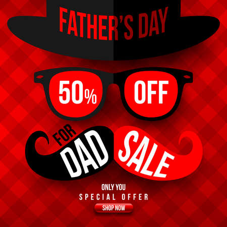 Fathers Day Sale 50% OFF banner. Fathers Day Sale in Red style concept. Promotion and shopping template for Fathers Day. Vector illustration Stock Illustratie