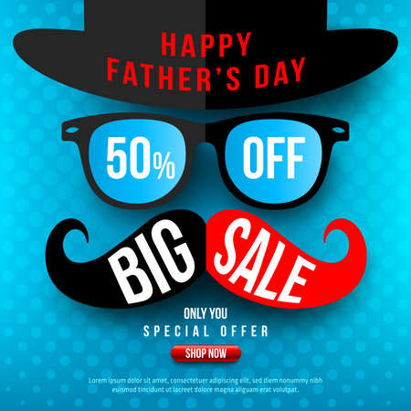 Fathers Day Sale 50% OFF banner. Fathers Day Sale in blue style concept. Promotion and shopping template for Fathers Day. Vector illustration
