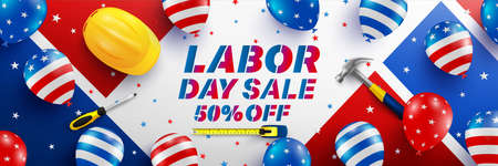 Labor Day Sale poster template. USA labor day celebration with American balloons flag. Sale promotion advertising Brochures, Poster or Banner for American Labor Day Zdjęcie Seryjne - 129269501