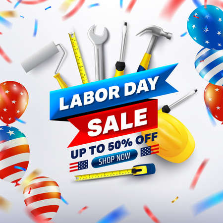 Happy Labor Day Sale 50% off poster. USA labor day celebration with American balloons flag. Sale promotion advertising Brochures, Poster or Banner for American Labor Day. Vector illustration Stock Illustratie
