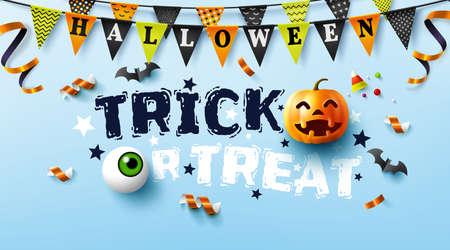 Halloween poster with text trick or treat,pumpkin and Halloween Elements.Website spooky,Background or banner Halloween template.Vector illustration EPS10 Illusztráció