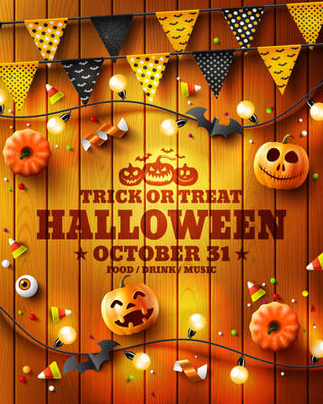 Happy Halloween poster with Halloween Elements on wood texture background. Party Invitation Concept in Traditional Colors. Website spooky, Background or banner Halloween template. Vector illustration