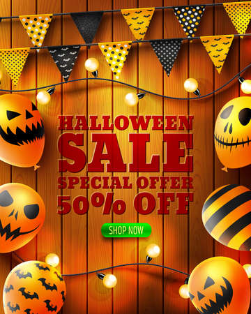 Halloween Sale 50% off poster with Scary air balloons on wood texture background.Party Invitation Concept in Traditional Colors.Website spooky,Background or banner Halloween template.
