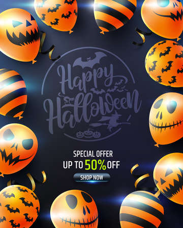 Halloween poster with Scary air balloons on black background.Party Invitation Concept in Traditional Colors.Website spooky,Background or banner Halloween template.Vector illustration EPS 10