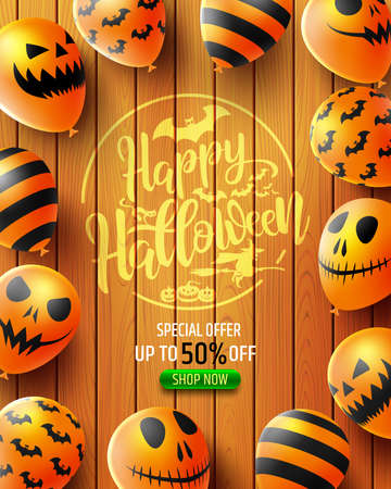 Halloween Sale 50% off poster with Scary air balloons on wood texture background. Party Invitation Concept in Traditional Colors. Website spooky, Reklamní fotografie - 132921209