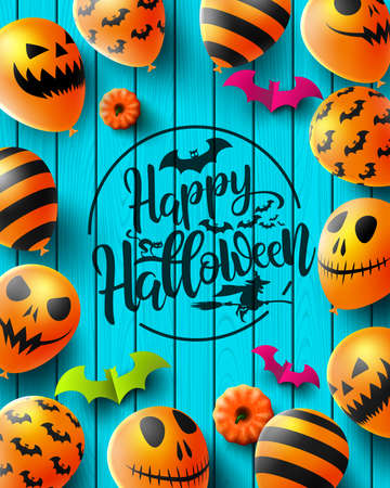 Happy Halloween poster with Scary air balloons on wood texture background.Party Invitation Concept in Traditional Colors.Website spooky,Background or banner Halloween template.Vector illustration EPS Zdjęcie Seryjne - 131658914