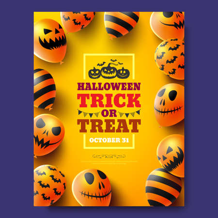 Halloween trick or treat  poster with Scary air balloons. Party Invitation Concept in Traditional Colors. Website spooky, Background or banner Halloween template. Reklamní fotografie - 132921221