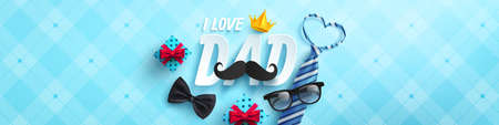 Happy Father's Day poster or banner template with necktie,glasses and gift box on blue.Greetings and presents for Father's Day in flat lay styling.Promotion and shopping template for love dad concept Ilustrace