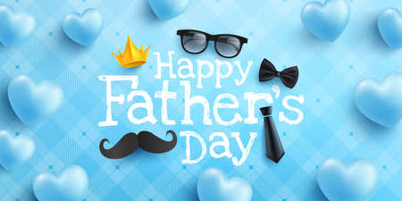 Happy Father's Day poster or banner template with necktie,glasses and heart on blue.Greetings and presents for Father's Day in flat lay styling.Promotion and shopping template for love dad concept