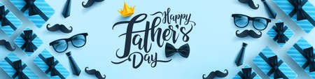 Father's Day poster or banner template with necktie,glasses and gift box on blue background.Greetings and presents for Father's Day in flat lay styling.Promotion and shopping template for love dad