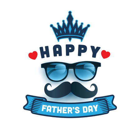 Happy Father's Day with glasses and paper Massage.Greetings and presents for Father's Day.Promotion and shopping template for love dad. Vector illustration eps 10 Ilustrace