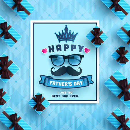 Happy Father's Day card with gift box on blue background.Greetings and presents for Father's Day in flat lay styling.Promotion and shopping template for love dad Zdjęcie Seryjne - 147281827