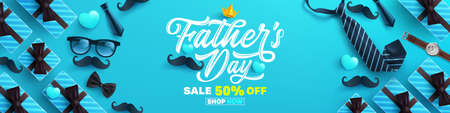 Father's Day Sale poster or banner template with necktie,glasses and gift box on blue background.Greetings and presents for Father's Day in flat lay styling.Promotion and shopping template for love dad Reklamní fotografie - 147290603