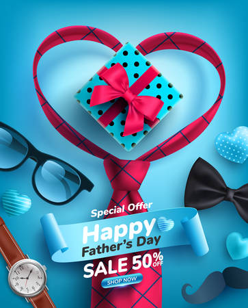 Father's Day Sale poster with heart shape and necktie on blue background.Greetings and presents for Father's Day.Promotion and shopping template for love dad concept.Vector illustration Ilustrace