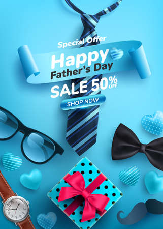 Father's Day Sale poster with flatlay of Glasses,Necktie,Watch and Gifts for dad.Greetings and presents for Father's Day.Promotion and shopping template for love dad concept.Vector illustration