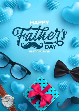 Father's Day Sale poster with flatlay of Glasses,Necktie,Watch and Gifts for dad.Greetings and presents for Father's Day.Promotion and shopping template for love dad concept.Vector illustration Zdjęcie Seryjne - 148413168