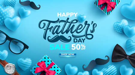 Father's Day Sale poster with flatlay of Glasses,Necktie,Watch and Gifts for dad.Greetings and presents for Father's Day.Promotion and shopping template for love dad concept.Vector illustration Zdjęcie Seryjne - 148413173