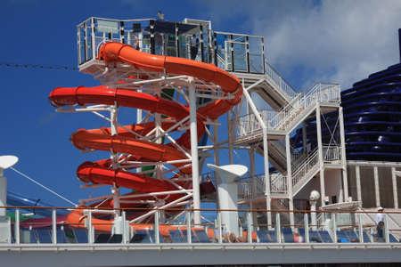 Water slider on the cruise ship Banco de Imagens