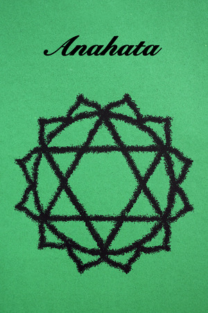 anahata: Anahata chakra.Isolated on green background