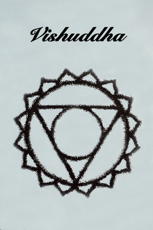 sanskrit: Vishuddha chakra.Isolated on light blue background