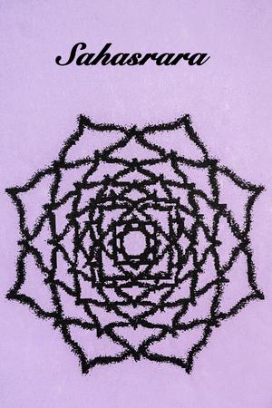 sahasrara: Sahasrara chakra.Isolated on purple background Stock Photo