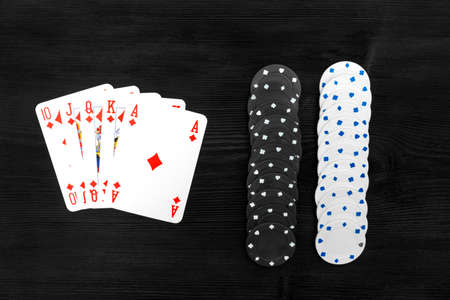 royal flush: Playing cards isolated on black background, Royal Flush
