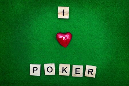 passion play: I love poker concept, on green background
