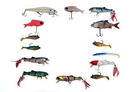 baits: Fishing baits isolated on white background, top view
