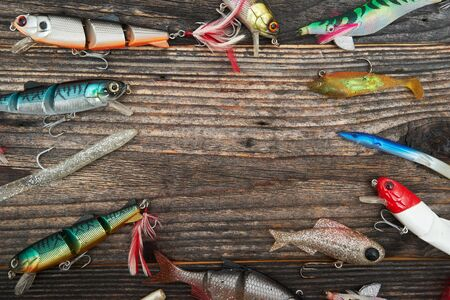 baits: Fishing baits isolated on wooden background